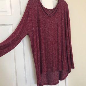 High-low crisscrossed neckline Sweater